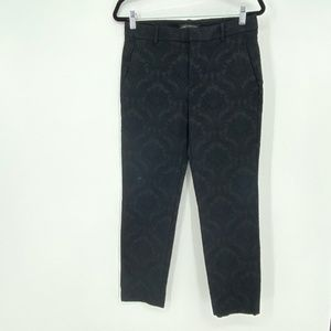 Zara Woman Black Jacquard Damask Textured Pants S